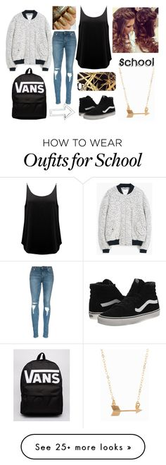"""School Outfit"" by sabine-salvucci on Polyvore featuring MANGO, BA&SH, Vans, Khristian A. Howell, Minnie Grace, women's clothing, women, female, woman and misses"