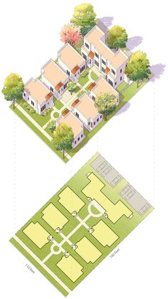 An idealized drawing of a typical bungalow court with two rows of bungalows flanking a shared courtyard and two-story units at back. Home Building Design, Home Design Plans, Building A House, Site Development Plan, Compound House, Site Plan Design, Pocket Neighborhood, Cluster House, Bungalows