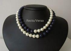 Colar de duas voltas, pérolas e pedra jade safira azul facetada, metal prateado. Charme. Visite a loja http://www.elo7.com.br/76e02
