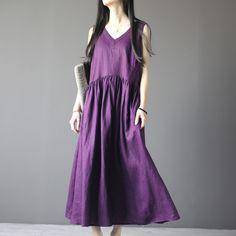 Linen Short Sleeve Dress in Purple