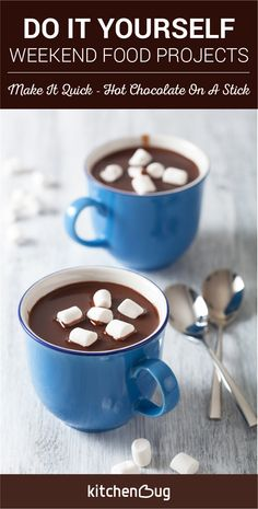 Brace the cold with the family with this easy hot chocolate on a stick recipe. Simply make the chocolate, put it on a stick, then dip it milk. A great way to warm up for the whole family.