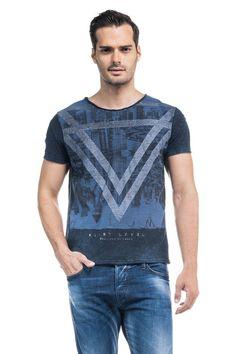 T-shirt 1St Level azul marinho com estampado e decote redondo