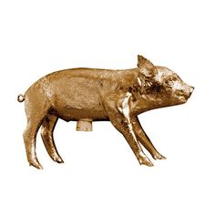 The gold pig is definitely the best. And it's big: 10 x 5.25 x 18 inches. From Area Ware. $200