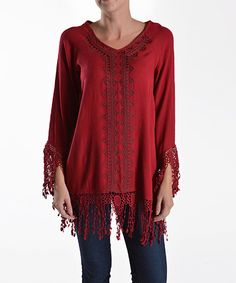 Look at this 42POPS Wine Fringe Tunic on #zulily today!