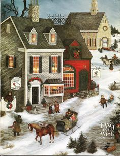 "This picture is of one of the brochures. It was helpful, this 1997 village collection is named ""The Joy of Christmas"" after Linda Nelson Stocks painting. Christmas Scenes, Christmas Past, Christmas Pictures, Victorian Christmas, Vintage Christmas Cards, Vintage Holiday, Illustration Noel, Christmas Illustration, Christmas Drawing"