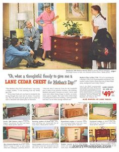 All girls wanted a Lane cedar chest Lane Furniture, Porch Furniture, Furniture Ads, Vintage Furniture, Furniture Design, Vintage Ads, Vintage Antiques, Old Advertisements, Advertising