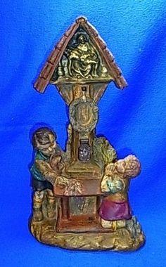 Antique German Plaster Figurine Children praying on Cross 1900 #^