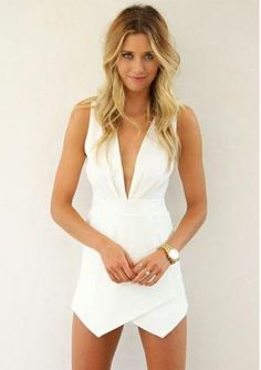 Women's sexy deep V neck sleeveless irregular hem solid color dresses