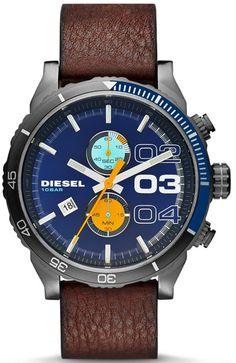 Diesel DZ4350 Double Down Brown Leather Watch