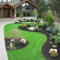 Project Gallery - Landscape design showcase for Creative Roots Landscaping Front Yard Garden Design, Small Front Yard Landscaping, Garden Yard Ideas, Backyard Garden Design, Landscaping With Rocks, Outdoor Landscaping, Front Yard Landscape Design, Corner Landscaping, Garden Bar