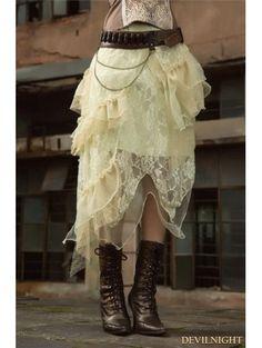 Ivory Steampunk Lace Layers Long Irregular Skirt