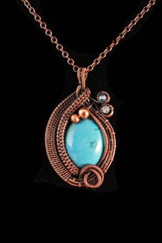 Copper Wire Wrapped Magnesite Pendant With Copper And Apatite Accent Beads by ImaginariumGiftsShop on Etsy