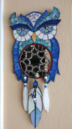 Mosaic dream catcher owl feather mirror by debscolorfulcorner