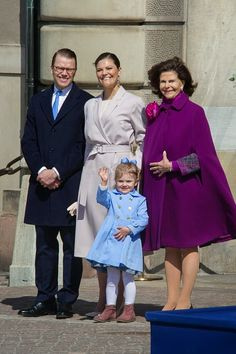 Prince Daniel, Crown Princess Victoria, Princess Estelle, Queen Silvia are seen during the celebration of the King's birthday at Palace Royale on April 30, 2015 in Stockholm, Sweden.
