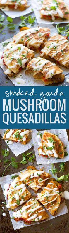 Smoked Gouda Mushroom Quesadilla - these veggie-packed munchies are the perfect summer meal! | pinchofyum.com