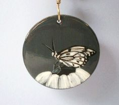 Black and White Butterfly Necklace with Red Coral, Handpainted | JewelryArtByDawn - Jewelry on ArtFire