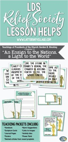 """2017 Relief Society Lesson Helps! Gordon B. Hinckley Chapter 2: """"An Ensign to the Nations, a Light to the World"""" Handouts, posters, power point, activity idea and more! www.LatterDayVillage.com"""