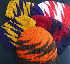 Ravelry: Zportz pattern by Susanna IC Free pattern--knit it in your team colors. Here at the Stitchin' Den it would be orange and blue. Knitting Patterns Free, Knit Patterns, Free Knitting, Free Pattern, Crochet Beanie Pattern, Knit Crochet, Crochet Hats, Knitting Projects, Crochet Projects