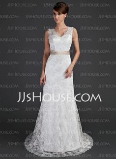 Wedding Dresses - $197.99 - Sheath/Column V-neck Court Train Charmeuse Lace Wedding Dresses With Sashes Beadwork (002000171) http://jjshouse.com/Sheath-Column-V-Neck-Court-Train-Charmeuse-Lace-Wedding-Dresses-With-Sashes-Beadwork-002000171-g171