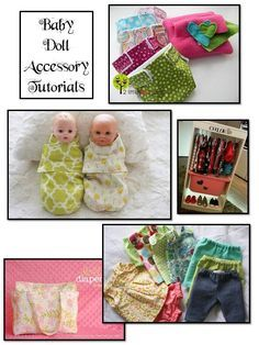 Doll tutorials to make a full baby doll Christmas gift; diaper bag, diapers, wipes, clothes, bedding, carrier, etc