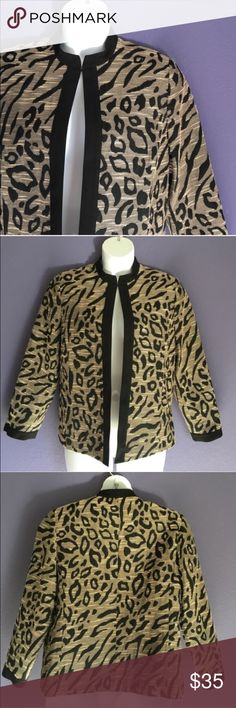 """Alfred Dunner Animal Print Jacket Take a walk on the wide side!  This gorgeous animal print jacket will make others """"roar"""" when you walk by.  😀.  Clasp at top if you want to wear closed. (As shown). Pair with black pants/leggings and boots for an amazing outfit.   Material:  56% Cotton/44% Polyester. Measurements:  Length - 25""""/Bust - 22""""/Waist - 22"""" Alfred Dunner Jackets & Coats Blazers"""
