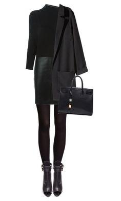 """look good working"" by bellablondie ❤ liked on Polyvore featuring H&M, Vanessa Bruno, Burberry, Yves Saint Laurent, WorkWear, black, anklebooties and longsleevedress"