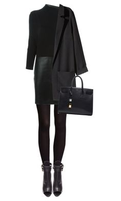 """look good working"" by bellablondie ❤ liked on Polyvore featuring H&M, Vanessa Bruno, Burberry, Yves Saint Laurent, WorkWear, black, anklebooties and longsleevedress"