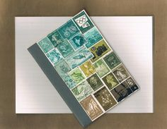 Upcycled Postage Stamp Notebook 27 - Original Collage Art, Vintage Postage Stamps, Abstract Landscape - OOAK Pocket Travel Journal, lined
