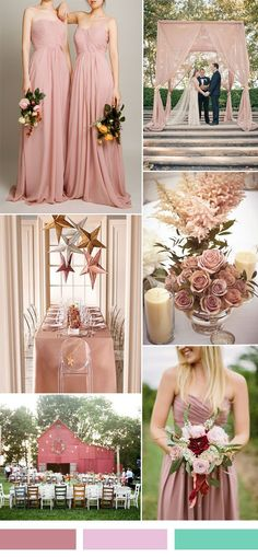dusty pink sorbet wedding color ideas and single shoulder bridesmaid dresses
