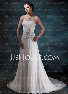 Wedding Dresses - $145.99 - A-Line/Princess Sweetheart Court Train Chiffon Wedding Dress With Ruffle Beadwork Sequins (002001680) http://jjshouse.com/A-Line-Princess-Sweetheart-Court-Train-Chiffon-Wedding-Dress-With-Ruffle-Beadwork-Sequins-002001680-g1680