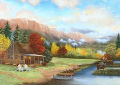 Cabin & Moose - Julie Peterson Oil Paintings (East Wenatchee, WA)