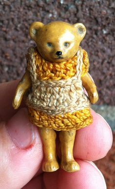 """Early RARE German Hertwig Bisque Wire Jointed Dollhouse Miniature Bear 1 6"""" Look 