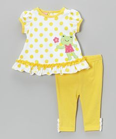 Look what I found on #zulily! Yellow Polka Dot Frog Tunic & Leggings - Infant by Weeplay Kids #zulilyfinds