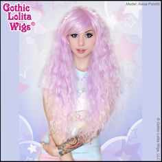 Genuine RHAPSODY by Gothic Lolita Wigs long lavender to pink ombre beachy cascading waves High temperature fiber cheap japanese style harajuki mermaid crimped