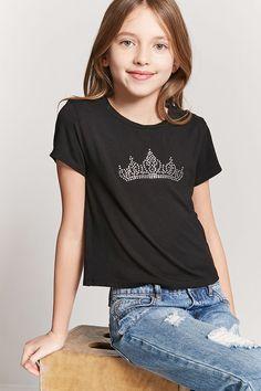 Product Name:Girls Rhinestone Crown Tee (Kids), Category:girls_tops, Price:7.9