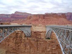 Traffic Bridge (left) and Foot Bridge (right) - Marble Canyon, Arizona. October 2011