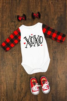 "GENDER NEUTRAL - ""XOXO"" Buffalo Plaid Onesie"