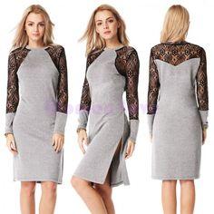 2015 New Vestidos De Festa OL Midi Pencil Office Dress Bodycon Bandage Dress Women Work Wear Slim Lace Club Party Dress 51