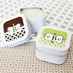 Leave a lasting impression on your guests with these delightful Mod Monogram Personalized Square Candle Tins! Each white tin comes in the shape of a square. Elegant Wedding Favors, Candle Wedding Favors, Candle Favors, Personalized Wedding Favors, Wedding Party Favors, Personalized Stationery, Bridal Shower Favors, Birthday Party Favors, Wedding Ideas