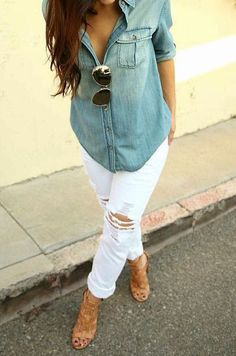 Chambray, distressed white denim, and killer nude heels - perfect spring/summer look