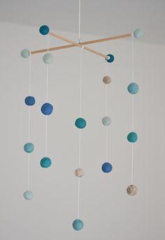 Felt Ball Mobile Blue by nanajuu on Etsy