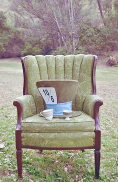 Use the wedding chairs out on the lawn! And maybe the green legged table?