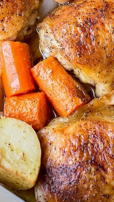 One Pot Chicken & Potatoes I have made this for many years. My mother used to make it way back in the 50's. Very tasty and easy - Roast at 375 for 1.5 hrs