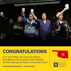 Congratulations to Dr. Gay Phillips, Sue Barton, Sharon Baldwin, Mary Bishop and their attorneys on today's monumental victory! #Oklahoma  Read more: www.hrc.org/blog/entry/tenth-circuit-rules-bans-on-marriage-equality-unconstitutional