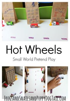 hot wheels small world play idea for kids -- how cute is this and so easy to take on the road with you!