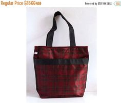 ON SALE Large tote bag, Student tote bag , Large handbag plaid pattern , Shopper tote bag, Casual Tote