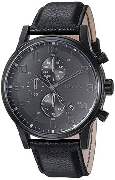 Amazon.com: Hugo Boss Leather Strap Chronograph Watch Black One Size: Watches
