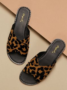 3f1e8b1aaa65 Stud Accent Leopard Cross Over Strap Slide Sandals -SHEIN(SHEINSIDE)