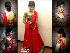 Indian bride wearing bridal hair, anarkali salwar and jewellery. Reception look. Makeup by Swank Studio. Find us at https://www.facebook.com/SwankStudioBangalore
