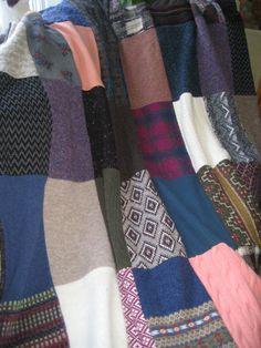 blanket made from recycled sweaters by akosuabyreginak on Etsy, $150.00